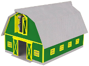 MTH30-90406 Green with Yellow Trim Barn (Lighted)