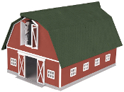MTH30-90407 Red Barn with Green Roof (Lighted)