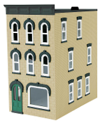 MTH30-90373 Sand Stone 3 Story Town House