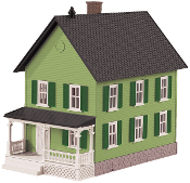 MTH30-90551 Row House Green with Blue Shutters